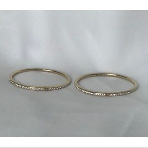 Nadri Thin Pave Gold Bangle Bracelets